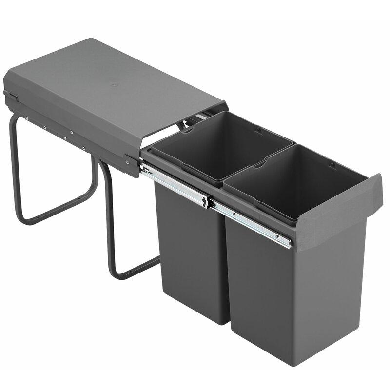 Wesco Mülleimer Küche, Einbau ab 8 cm Unterschrank, 8x8 Liter
