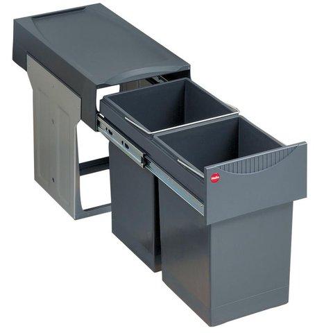 Mülleimer Küche, Schrank 30 cm, Hailo Tandem, Vollauszug, 2x 15 Liter