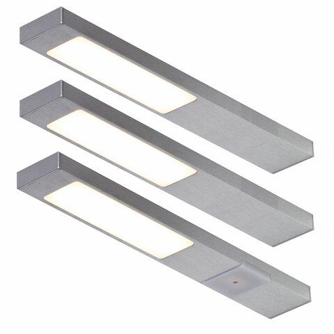 led unterbauleuchte k che edelstahl optik 3x2 2 watt neoplan warmweiss mit konverter. Black Bedroom Furniture Sets. Home Design Ideas