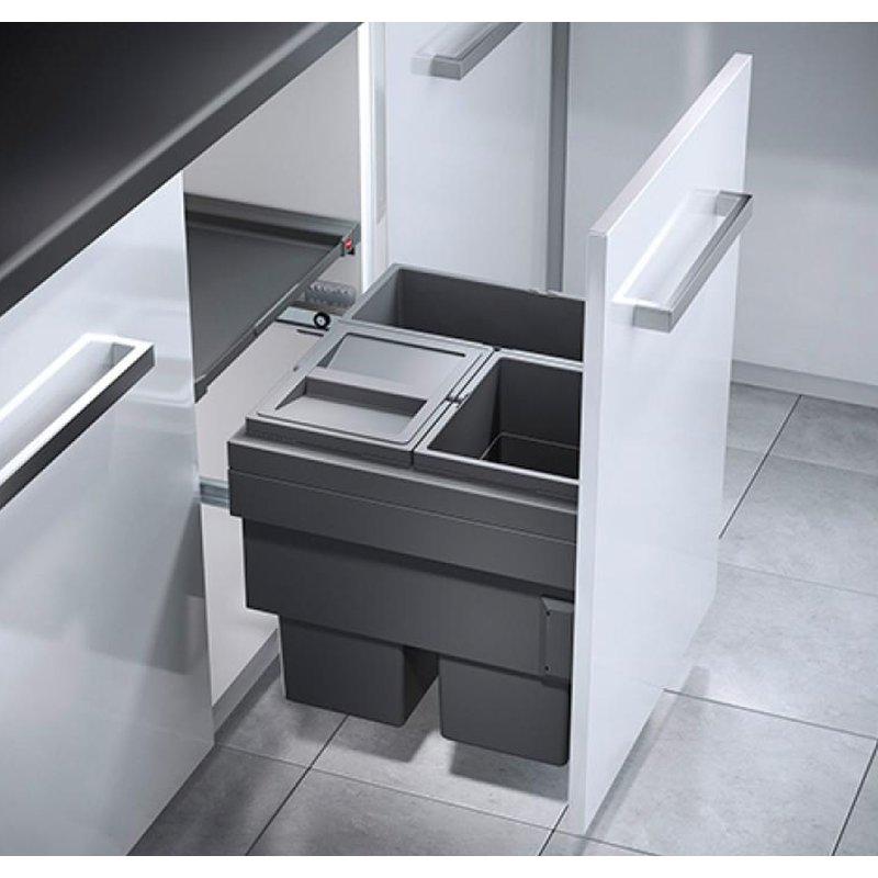Hailo, Cargo Synchro, Mülleimer Küche, Einbau Abfallsystem, Schrank 50 Cm,  1x18, 2x13 Liter